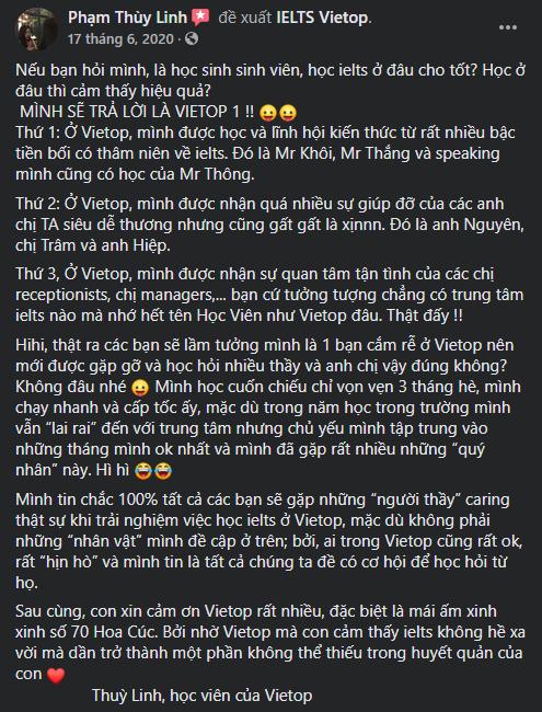Review của bạn Phạm Thùy Linh về IELTS Vietop