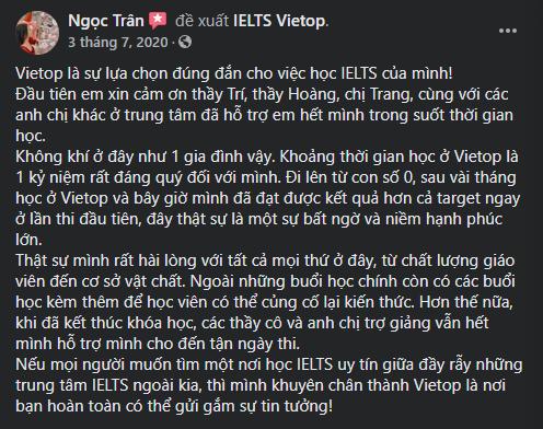 Review của bạn Ngọc Trân về IELTS Vietop