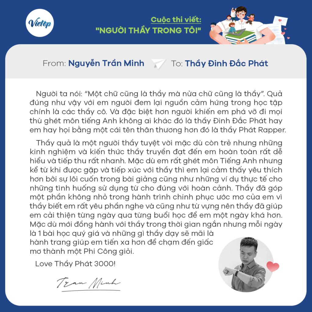 Review khóa học IELTS Vietop từ học Nguyễn Trần Minh.