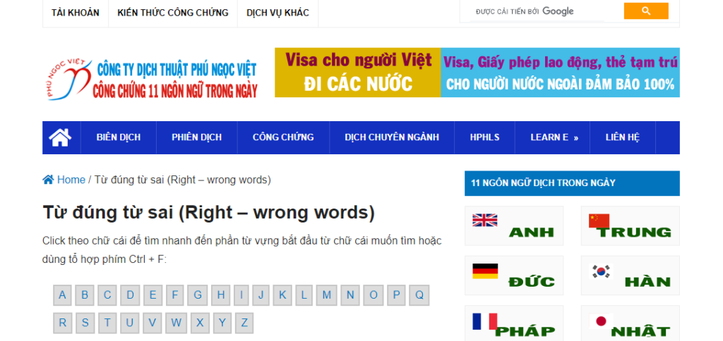 Học từ vựng tiếng Anh với từ đúng từ sai