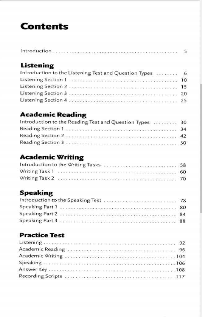 Mục lục của cuốn sách Action Plan for IELTS