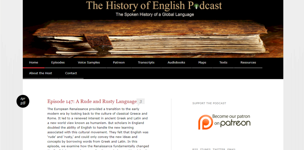 Website The History of English Podcast