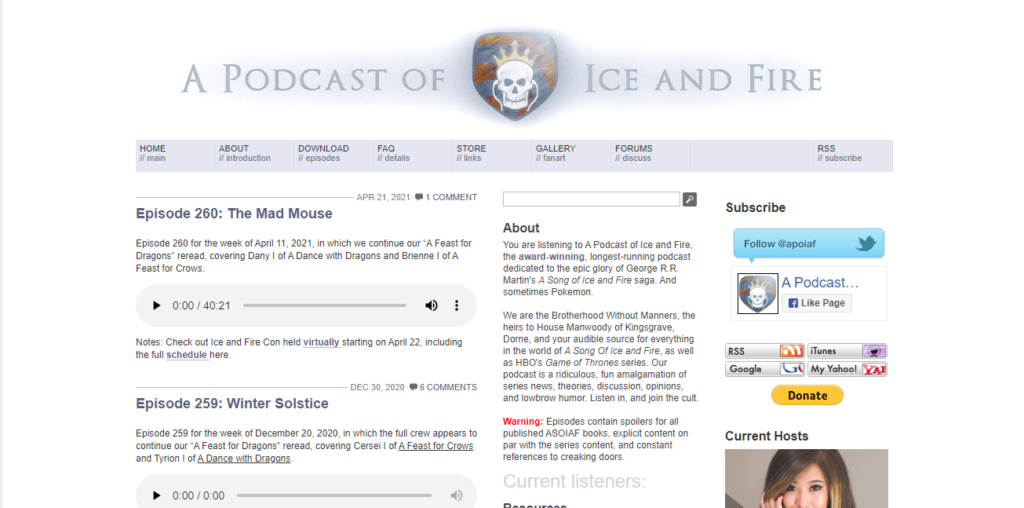 Website A Podcast of Ice and Fire
