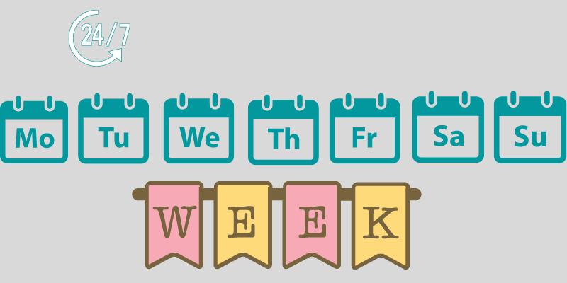 Cách viết thứ trong tuần (Days of week)
