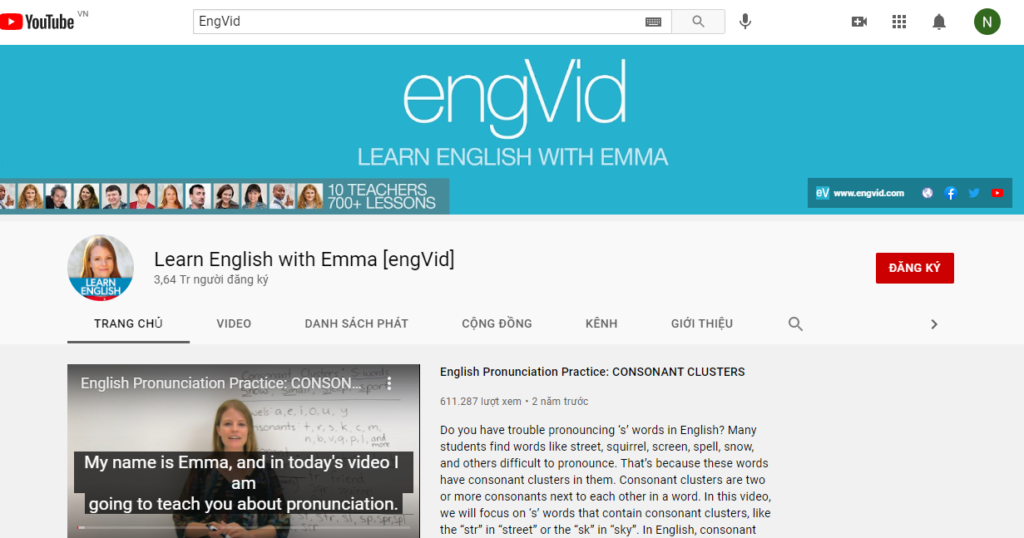 Kênh EngVid – Learn English for free