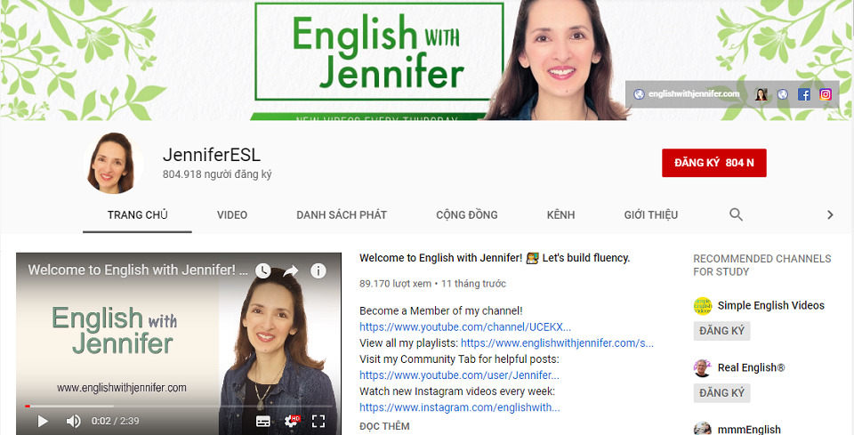 Kênh English with Jennifer