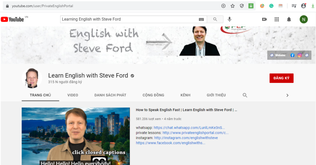 Kênh Learning English with Steve Ford