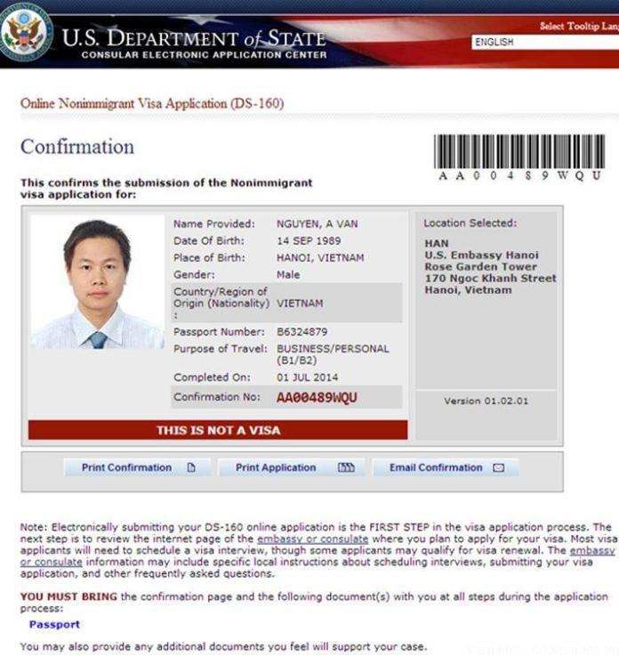 Mẫu đơn xin visa du học Mỹ DS-160